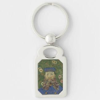 Van Gogh | Portrait of Postman Joseph Roulin II Silver-Colored Rectangular Metal Keychain