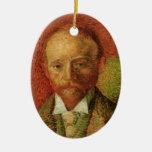 Van Gogh Portrait of the Art Dealer Alexander Reid Double-Sided Oval Ceramic Christmas Ornament