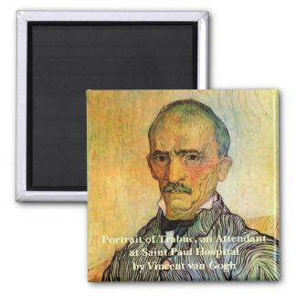 Van Gogh Portrait of Trabuc, Vintage Impressionism Magnet