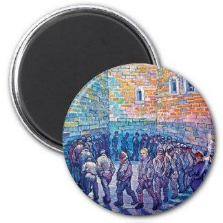 Van Gogh - presos que caminan la ronda Imán De Nevera