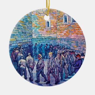 Van Gogh - Prisoners Walking The Round Double-Sided Ceramic Round Christmas Ornament