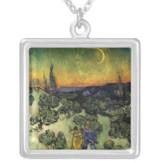 """Van Gogh: """"promenade"""" de la tarde Colgante Cuadrado"""