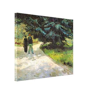 Van Gogh; Public Garden w Couple and Blue Fir Tree Canvas Print