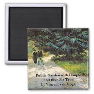Van Gogh; Public Garden w Couple and Blue Fir Tree Magnet