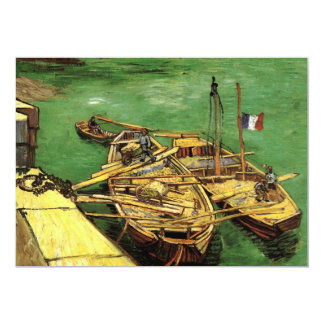 Van Gogh Quay with Men Unloading Sand Barges Card