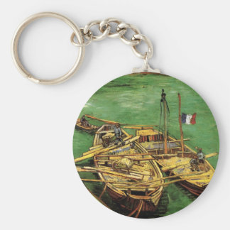 Van Gogh Quay with Men Unloading Sand Barges Keychain