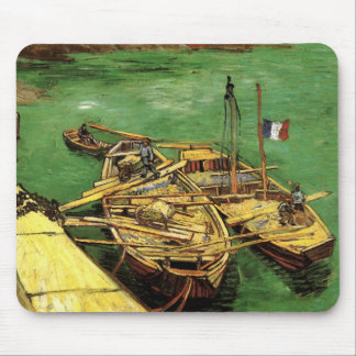 Van Gogh Quay with Men Unloading Sand Barges Mouse Pad