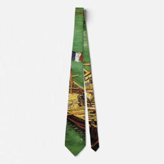 Van Gogh Quay with Men Unloading Sand Barges Neck Tie