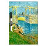 Van Gogh que pinta Langlois Brige en Arles Pizarras Blancas De Calidad
