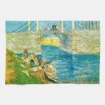 Van Gogh que pinta Langlois Brige en Arles Toallas
