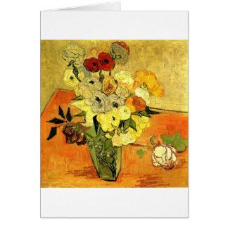 Van Gogh que pinta vides caprichosas de las flores Tarjetón