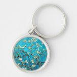 Van Gogh: Ramas con los flores de la almendra Llavero Redondo Plateado