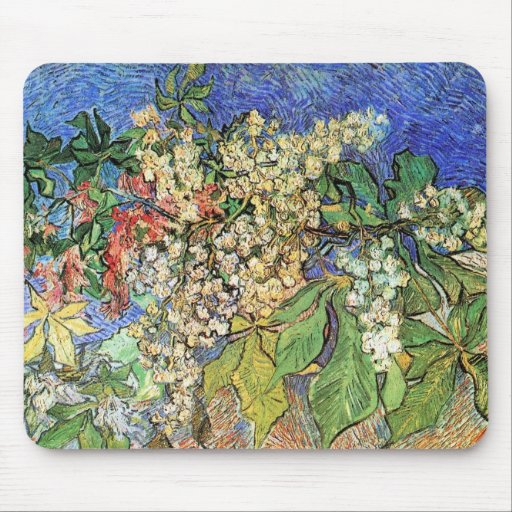 Van Gogh; Ramas florecientes de la castaña Alfombrilla De Ratón