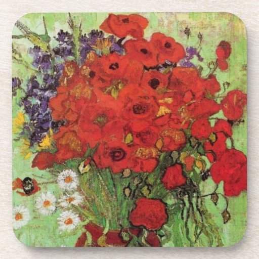 Van Gogh Red Poppies and Daisies Coasters