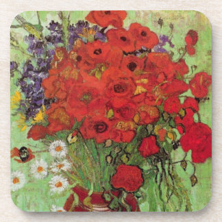 Van Gogh Red Poppies and Daisies, Fine Art Flowers Beverage Coaster