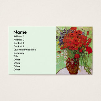 Van Gogh Red Poppies and Daisies, Fine Art Flowers Business Card
