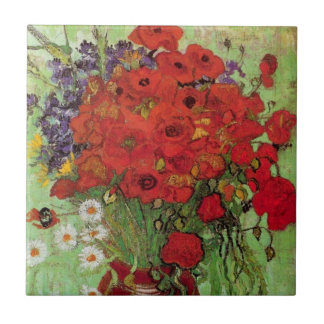 Van Gogh Red Poppies and Daisies, Fine Art Flowers Ceramic Tile