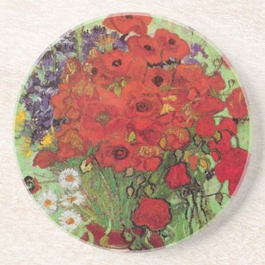 Van Gogh Red Poppies and Daisies, Fine Art Flowers Coaster
