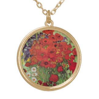Van Gogh Red Poppies and Daisies, Fine Art Flowers Gold Plated Necklace