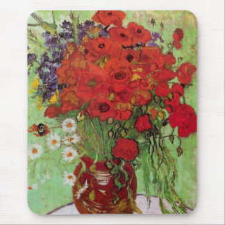 Van Gogh Red Poppies and Daisies, Fine Art Flowers Mouse Pad