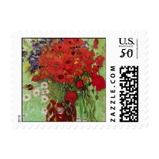 Van Gogh Red Poppies and Daisies, Fine Art Flowers Postage