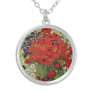 Van Gogh Red Poppies and Daisies Necklace