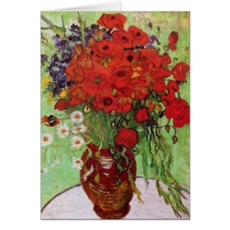 Van Gogh Red Poppies and Daisies Note Card