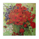 """Van Gogh Red Poppies and Daisies Tile<br><div class=""""desc"""">Van Gogh Red Poppies and Daises tile. Oil painting on canvas from 1890. A colorful flower painting by Van Gogh, while not as famous as his celebrated vase of sunflowers, this work represents yet another charming entry in the artist's extensive catalog of floral still lifes. A great gift for fans...</div>"""