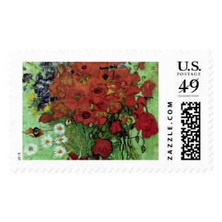 Van Gogh Red Poppies & Daisies (F280) Fine Art Postage Stamps