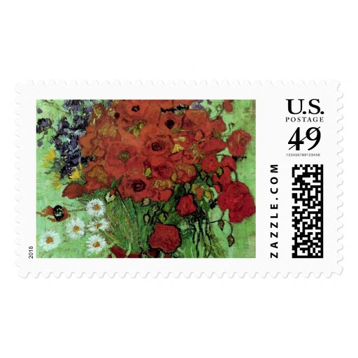 Van Gogh Red Poppies & Daisies (F280) Fine Art Stamp
