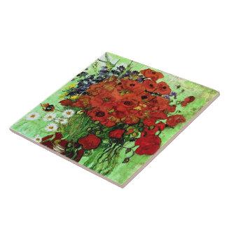 Van Gogh Red Poppies & Daisies (F280) Fine Art Tile