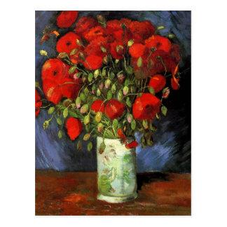 Van Gogh Red Poppies, Vintage Save the Date Postcard
