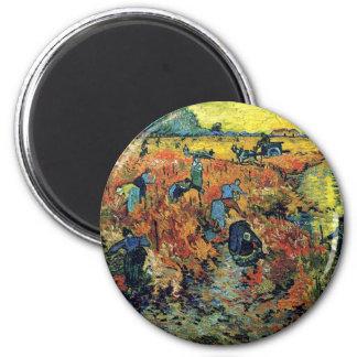 Van Gogh - Red Vineyard At Arles 2 Inch Round Magnet