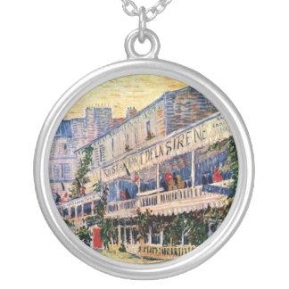 Van Gogh - Restaurant De La Sirene At Asnieres Round Pendant Necklace