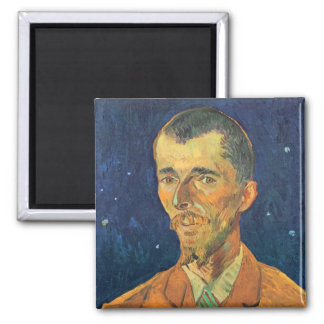 Van Gogh; Retrato de Eugene Boch, arte del vintage Imán Cuadrado
