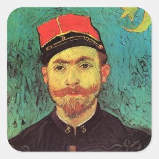 Van Gogh; Retrato de Milliet, teniente Soldier Calcomanías Cuadradass Personalizadas