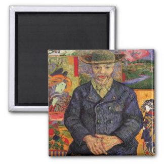 Van Gogh, retrato de Père Tanguy, arte del vintage Imán Cuadrado
