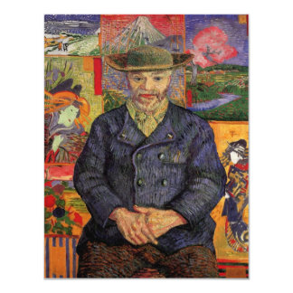 """Van Gogh, retrato de Père Tanguy, arte del vintage Invitación 4.25"""" X 5.5"""""""