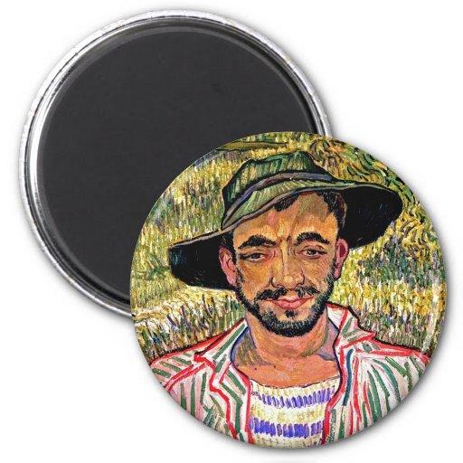Van Gogh - retrato de un campesino joven Imán De Nevera