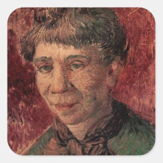 Van Gogh; Retrato de una mujer (señora Tanguy?) Pegatina Cuadrada
