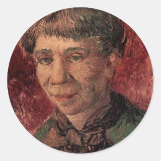 Van Gogh; Retrato de una mujer (señora Tanguy?) Pegatina Redonda