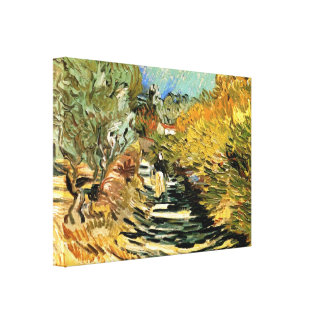 Van Gogh Road at Saint Remy with Female Figure Canvas Print