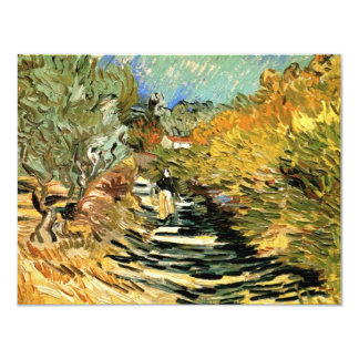 """Van Gogh Road at Saint Remy with Female Figure 4.25"""" X 5.5"""" Invitation Card"""