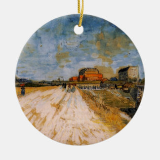 Van Gogh Road Running Beside the Paris Ramparts Double-Sided Ceramic Round Christmas Ornament