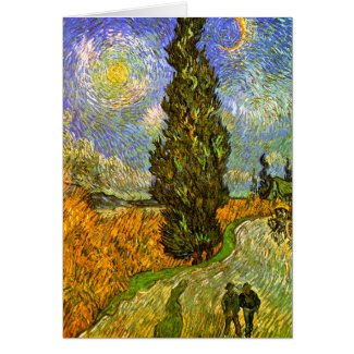 Van Gogh: Road with Cypress and Star zazzle_card