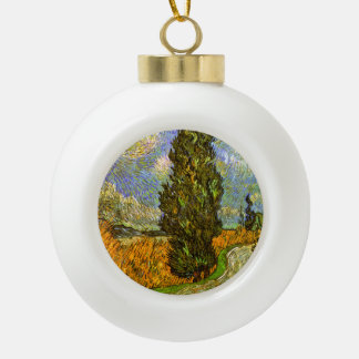 Van Gogh: Road with Cypress and Star Ceramic Ball Christmas Ornament