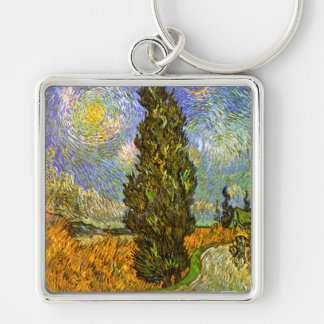 Van Gogh: Road with Cypress and Star Keychain