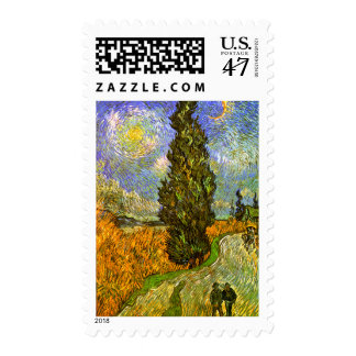 Van Gogh: Road with Cypress and Star Postage Stamp