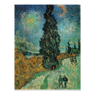 VAN GOGH - ROAD WITH CYPRESS AND STAR PRINT