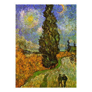 Van Gogh: Road with Cypress and Star Print